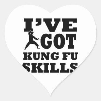Diseños de los artes marciales de Kungfu Pegatina En Forma De Corazón