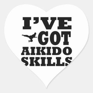 Diseños de los artes marciales del Aikido Pegatina En Forma De Corazón