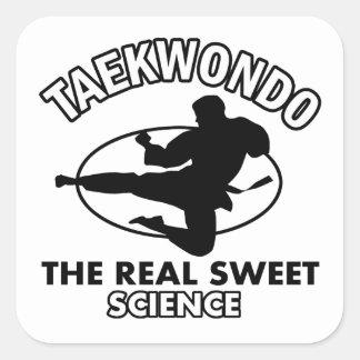 Diseños de los artes marciales del Taekwondo Pegatina Cuadrada