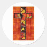 Diseños de madera quemados de la cruz etiqueta
