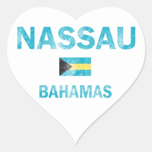 Diseños de Nassau Bahamas Pegatina En Forma De Corazón