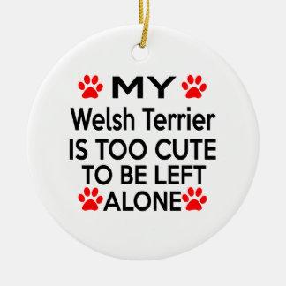 Diseños de Terrier galés Adorno Navideño Redondo De Cerámica