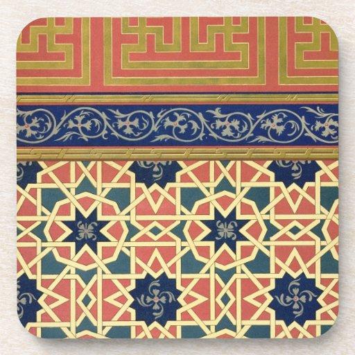 Diseños decorativos árabes (litho del color) posavasos de bebidas