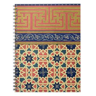 Diseños decorativos árabes (litho del color) spiral notebooks
