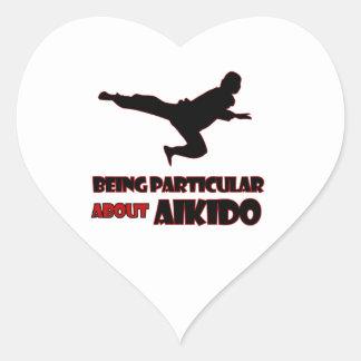 diseños del aikido pegatina en forma de corazón