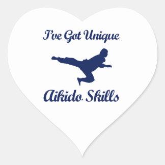 diseños del arte marcial del aikido pegatina en forma de corazón