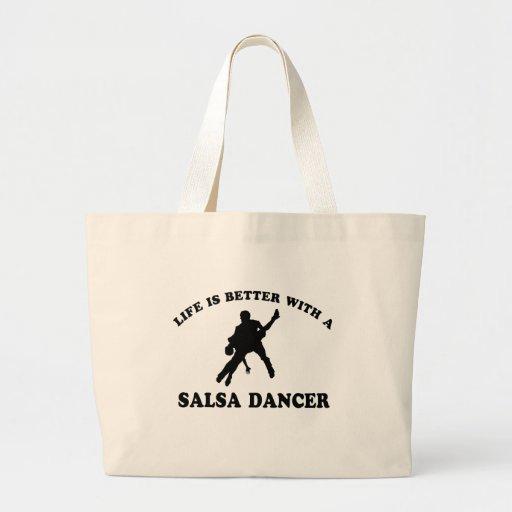 Diseños del bailarín de la salsa bolsa tela grande