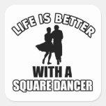 Diseños del baile cuadrado pegatina cuadrada