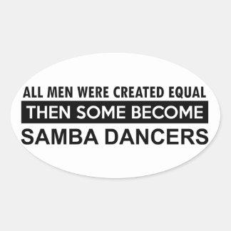 Diseños del baile de la samba pegatina ovalada