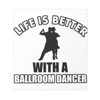 Diseños del baile de salón de baile blocs de papel