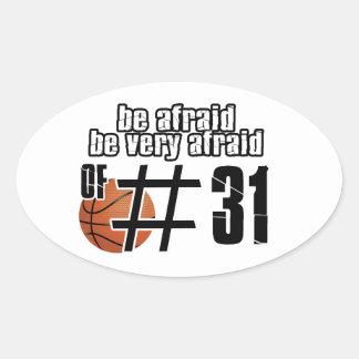 Diseños del baloncesto del número 31 colcomanias de óval personalizadas