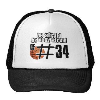 Diseños del baloncesto del número 34 gorros
