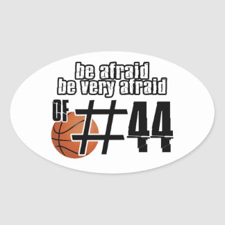 Diseños del baloncesto del número 44 calcomanías óvales personalizadas