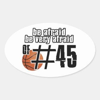 Diseños del baloncesto del número 45 pegatina de ovaladas