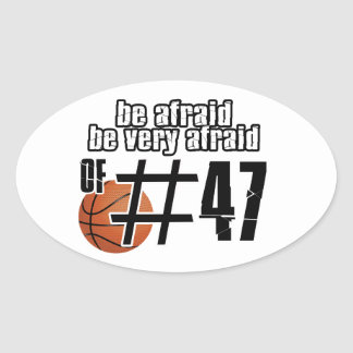Diseños del baloncesto del número 47 pegatinas ovales