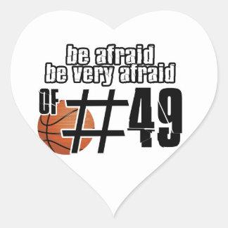 Diseños del baloncesto del número 49 pegatina corazón personalizadas