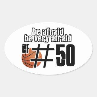 Diseños del baloncesto del número 50 calcomanía de óval personalizadas