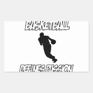 diseños del baloncesto rectangular pegatina