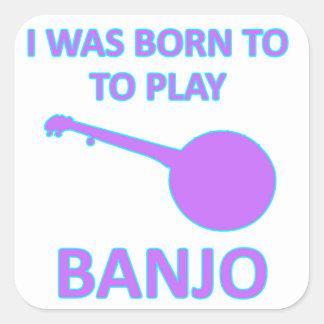 Diseños del banjo pegatina cuadrada