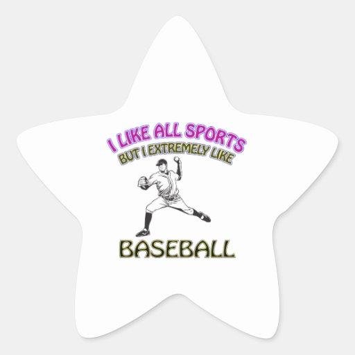 Diseños del béisbol calcomanías forma de estrella personalizadas