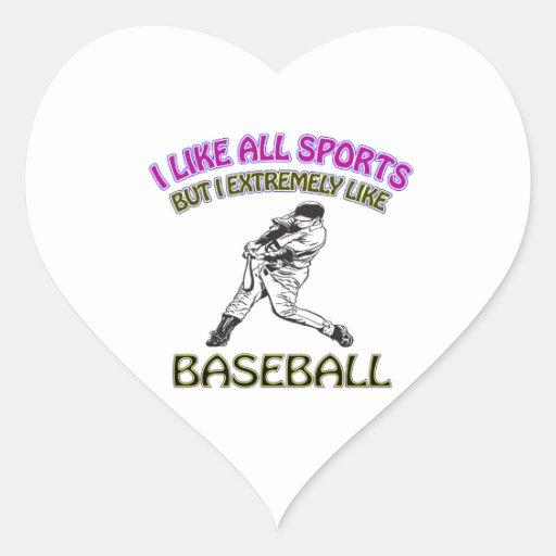 Diseños del béisbol calcomanías de corazones
