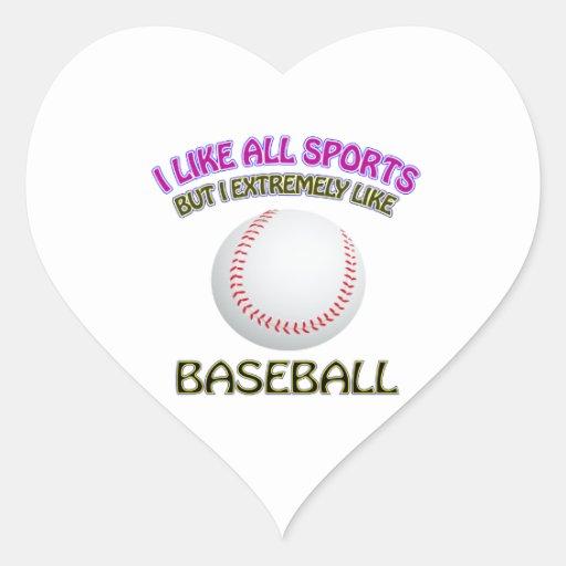 Diseños del béisbol pegatinas de corazon