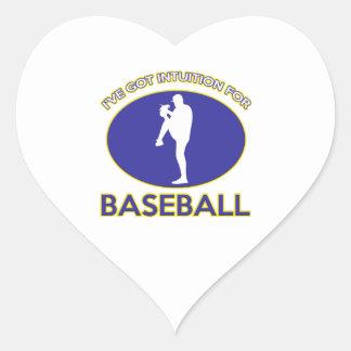 Diseños del béisbol pegatina en forma de corazón