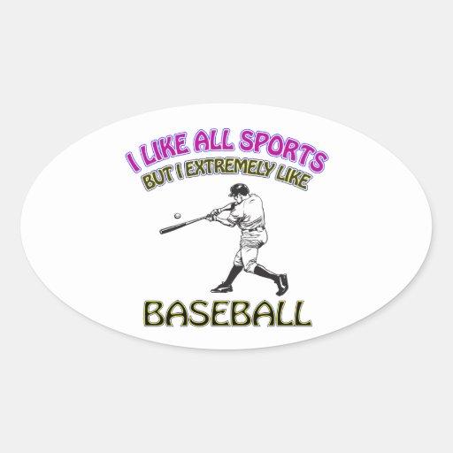 Diseños del béisbol calcomanías óvales personalizadas