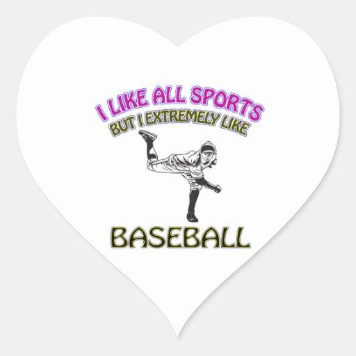 Diseños del béisbol calcomania corazon