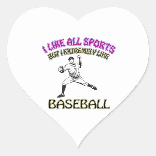 Diseños del béisbol colcomanias de corazon personalizadas