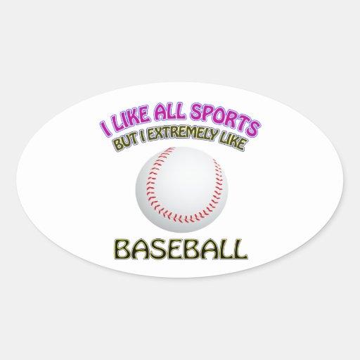 Diseños del béisbol calcomania de óval