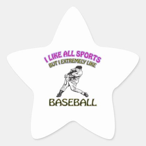 Diseños del béisbol calcomanias forma de estrella