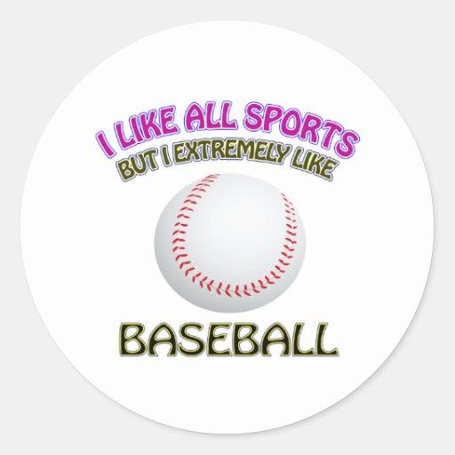 Diseños del béisbol pegatinas redondas