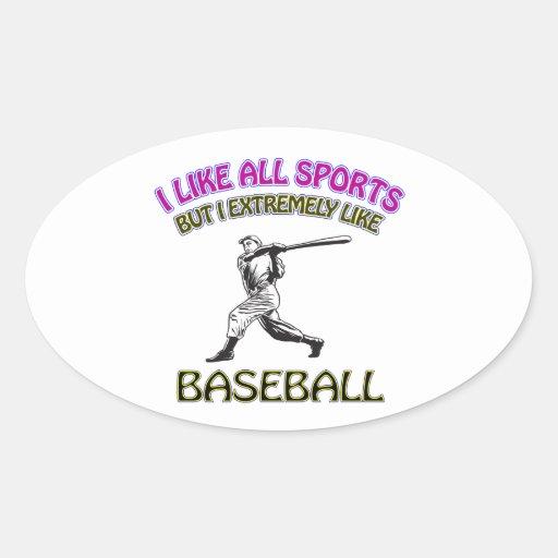 Diseños del béisbol calcomanía de óval personalizadas