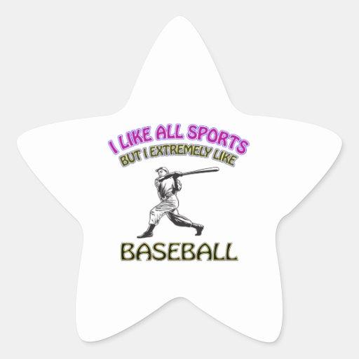 Diseños del béisbol colcomanias forma de estrellas