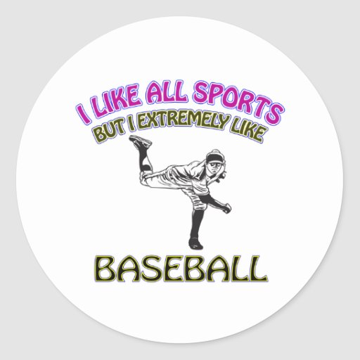Diseños del béisbol pegatina redonda