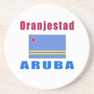 Diseños del capital de Oranjestad Aruba Posavasos Cerveza