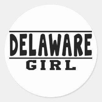 Diseños del chica de Delaware Pegatinas Redondas