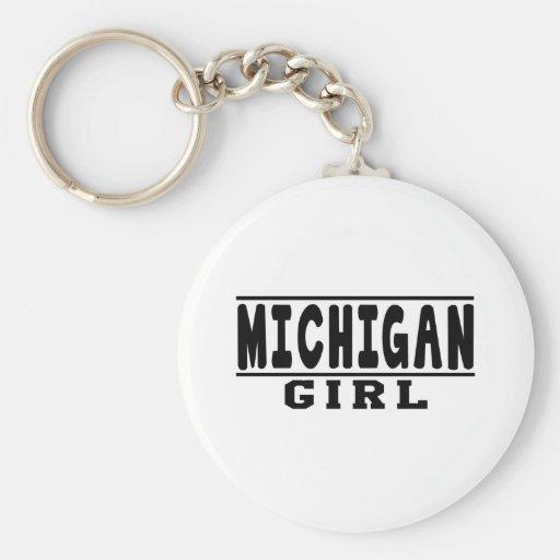Diseños del chica de Michigan Llavero Redondo Tipo Pin