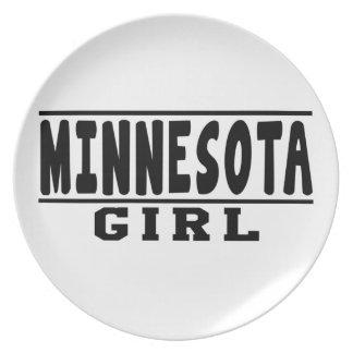 Diseños del chica de Minnesota Plato De Comida