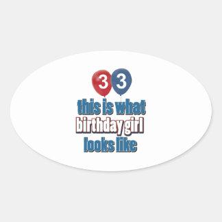 diseños del chica del cumpleaños de 33 años calcomanías ovales