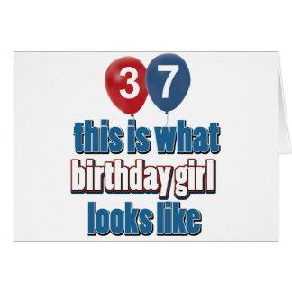 diseños del chica del cumpleaños de 37 años tarjeta de felicitación