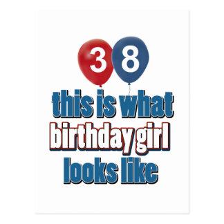 diseños del chica del cumpleaños de 38 años postal