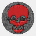 Diseños del cráneo etiquetas redondas