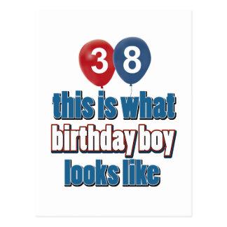 diseños del cumpleaños de 38 años postal
