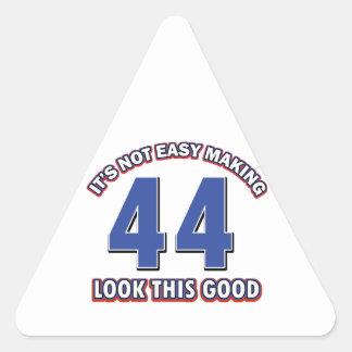 diseños del cumpleaños de 44 años pegatina triangular