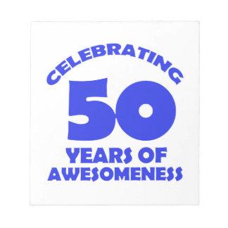 diseños del cumpleaños de 50 años bloc de papel