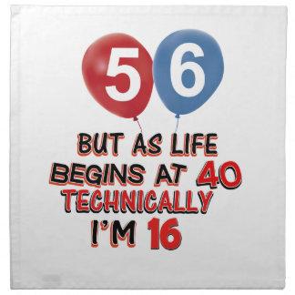 diseños del cumpleaños de 56 años servilletas de papel