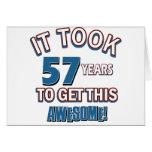 diseños del cumpleaños de 57 años tarjetón