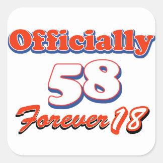 diseños del cumpleaños de 58 años pegatina cuadrada